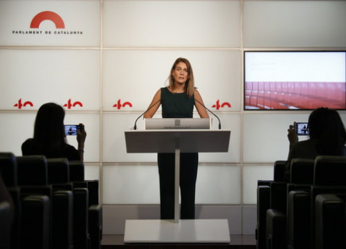 Catalunya-En Comú Podem leader, Jéssica Albiach, at a press conference, September 17, 2020 (by Gerard Artigas)