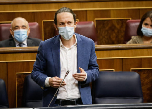 Spain's vice president and Unidas Podemos leader Pablo Iglesias in Congress (by Congreso de los Diputados)