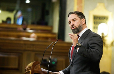 Far-right Vox leader Santiago Abascal during the debate on the censure motion brought by his party, October 21, 2020 (by Congress)