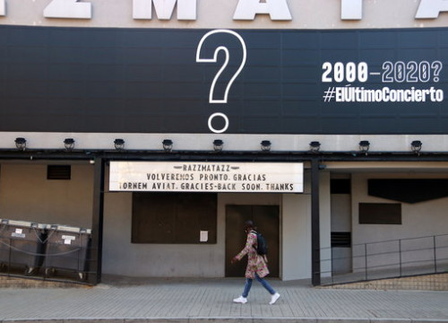 Razzmatazz advertises the 'last concert', with a warning that venues may be forced to close permanently this year (by Pau Cortina)