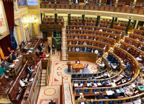 The Spanish congress in Madrid debate the proposed budget deal in November 2020 (image from Spanish congress)