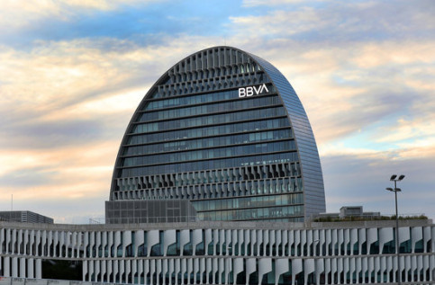 The headquarters of the BBVA bank in Madrid (by BBVA)