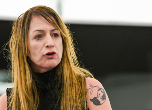 The Irish MEP Clare Daly in the European Parliament on November 24, 2020 (by European Parliament)