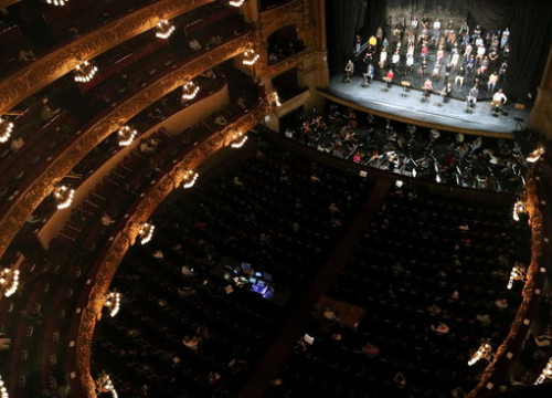 The Liceu opera house during a protest rehearsal on December 24, 2020 (by Pau Cortina)