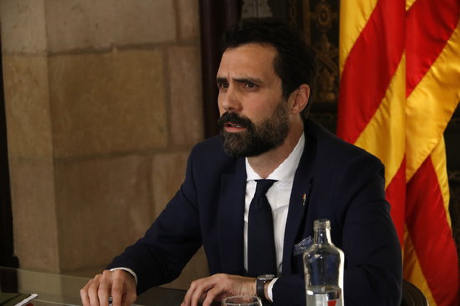 Parliament speaker Roger Torrent during an online meeting, November 30, 2020 (by Guillem Roset)