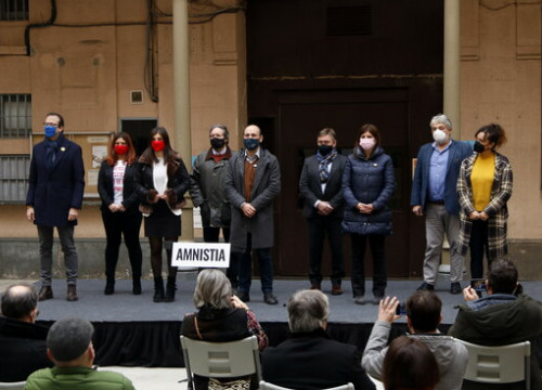 Image of the pro-independence unitary event to demand amnesty for the jailed and exiled leaders, on December 14, 2020 (by Guillem Roset)