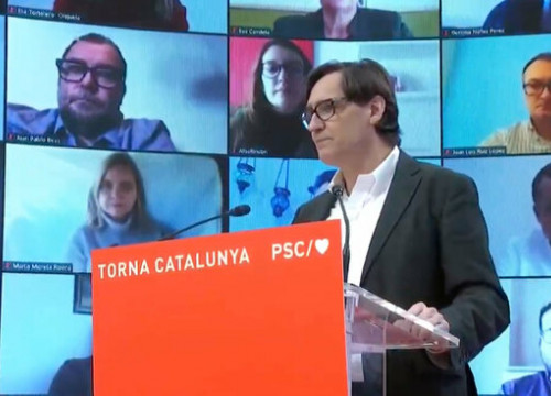Socialist presidential candidate for the Catalan elections, Salvador Illa, during a pre-campaign act (by Aleix Freixas)