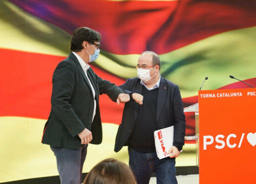 The Socialists' Salvador Illa and Miquel Iceta at a pre-campaign event, January 3, 2021 (PSC)