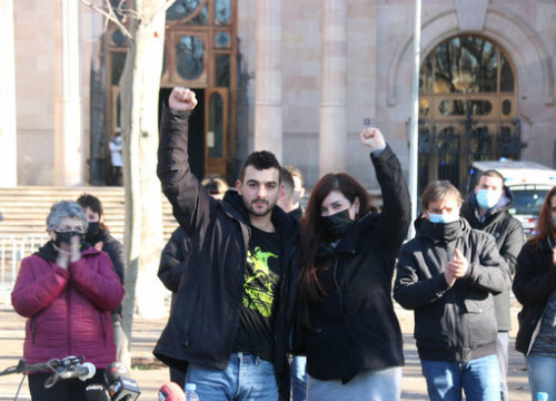 Pro-independence activists Adrià Carrasco (left) and Tamara Carrasco (by Miquel Codolar)