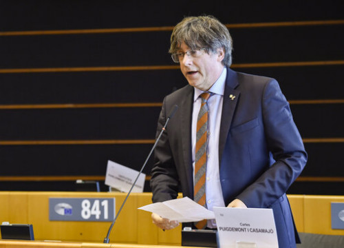 Former Catalan president and current MEP Carles Puigdemont, talking in the European Parliament plenary session, on January 19, 2021 (by European Parliament)