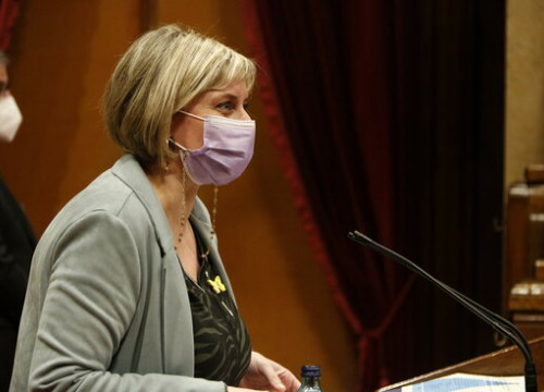 The Catalan health minister, Alba Vergés, on January 20, 2021 in Parliament (by Guillem Roset)