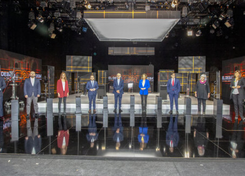 Photo of all nine candidates taking part in the TV3 Catalan election debate on February 9, 2021 (by TV3)