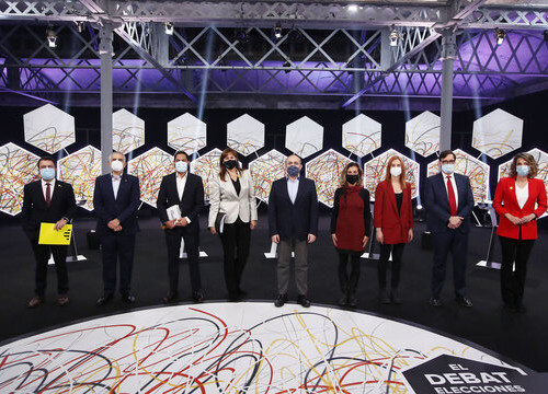 Candidates from the nine parties ahead of an election debate on 'La Sexta', February 11, 2021