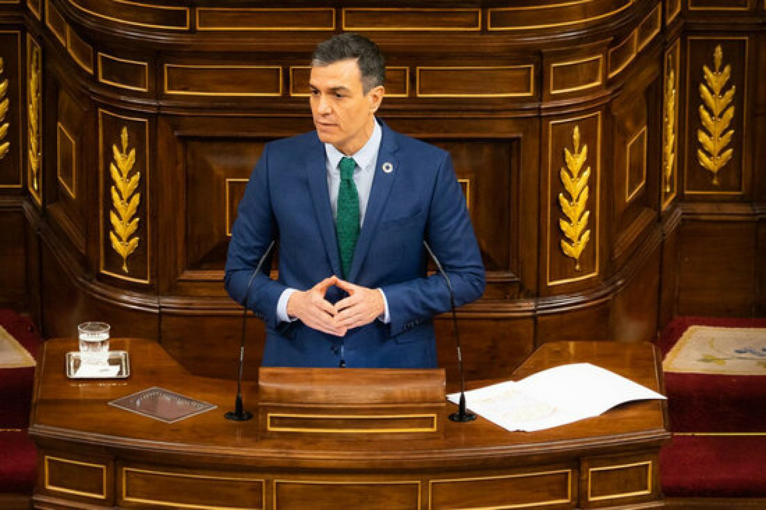 Spanish president Pedro Sánchez speaking in the Spanish congress (image by Spanish congress)