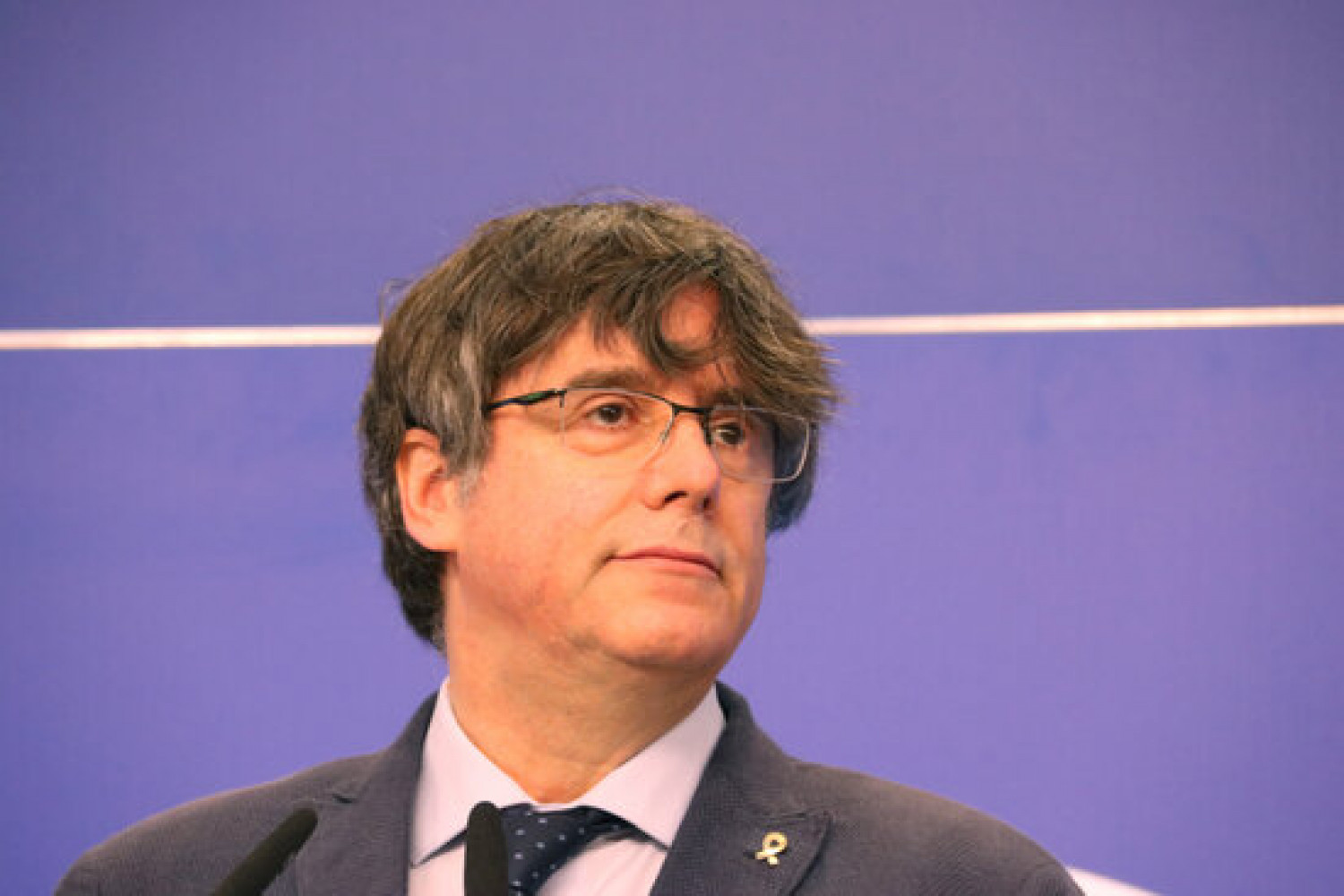 MEP Carles Puigdemont photographed during a press conference in the European Parliament (by Natàlia Segura)