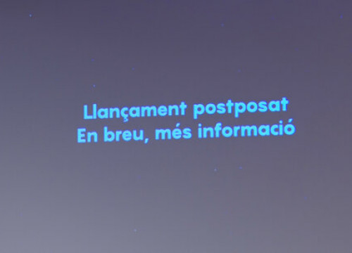 'Launch postponed, more information coming soon' says text displayed at CosmoCaixa, March 20, 2021 (by Sílvia Jardí)