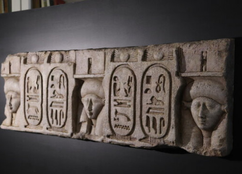 Replica in Barcelona's Egyptian Museum of remains of Ptolomey temple found in Egypt (by Maria Asmarat)