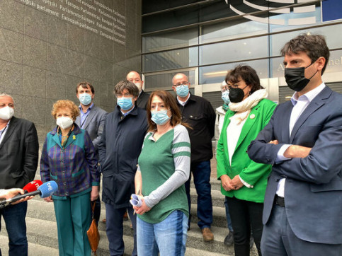 MEPs gather in front of the European Parliament's entrance (by Greens-EFA)