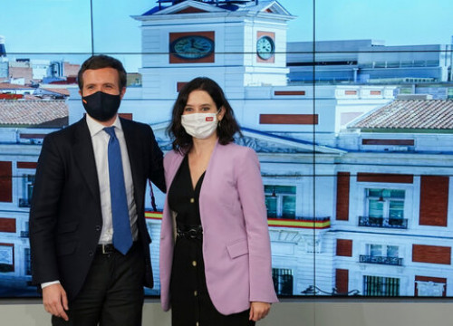 People's Party leader Pablo Casado and Madrid president Isabel Díaz Ayuso, May 5, 2021 (People's Party)