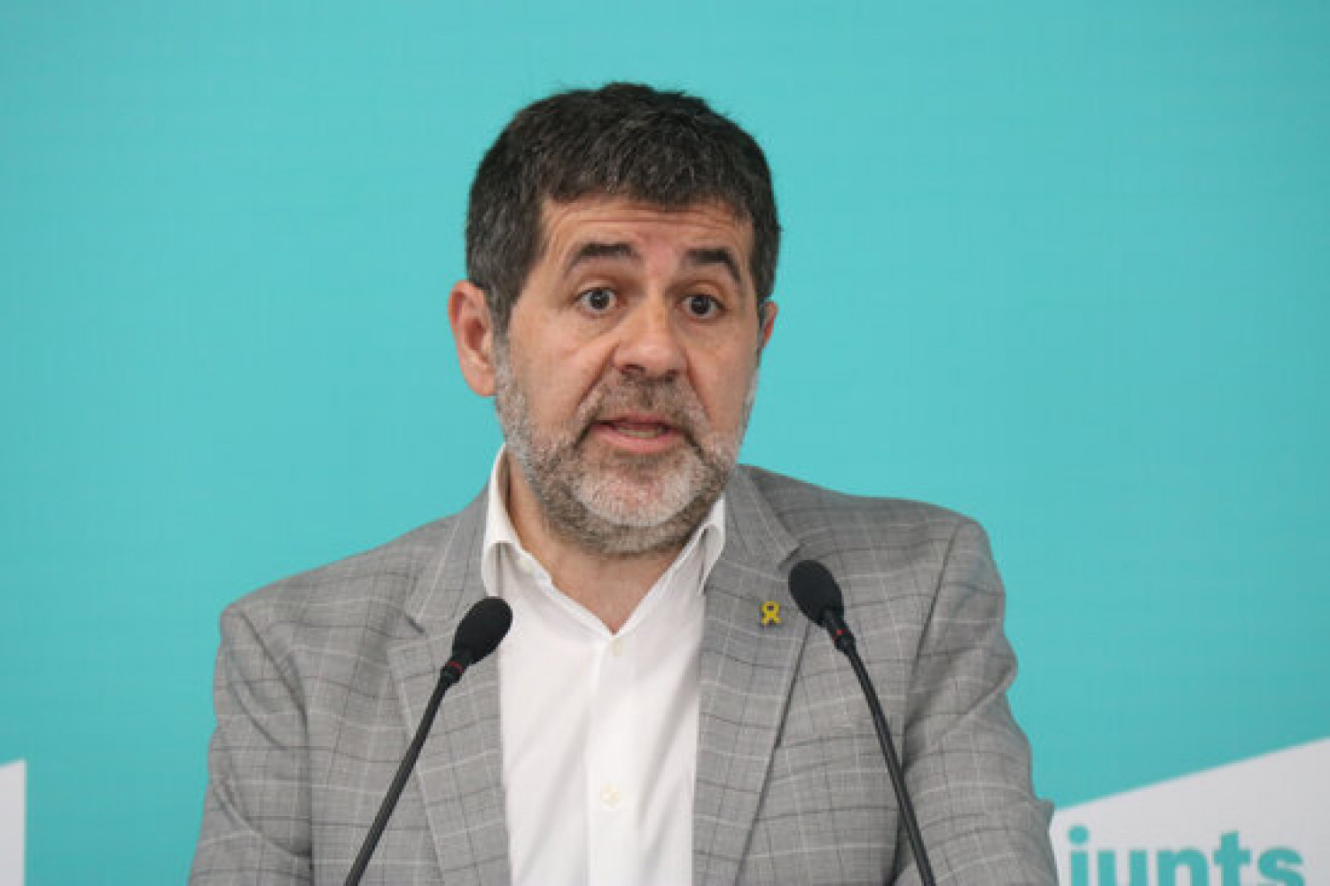 JxCat's Jordi Sànchez appears at a party press conference (by Mariona Puig)