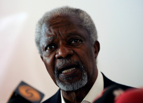 Kofi Annan, chair of The Elders NGO, Ghanaian diplomat, and Nobel Peace Prize laureate (by Reuters)