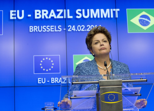 Former president of Brazil Dilma Rousseff speaking in Brussels (by the European Council)