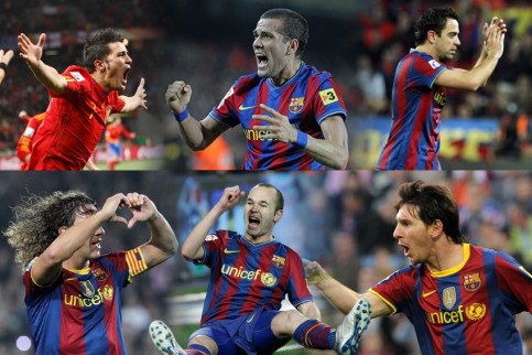 From left to right and top to down: Villa, Alves, Xavi, Puyol, Iniesta, and Messi (by FC Barcelona)