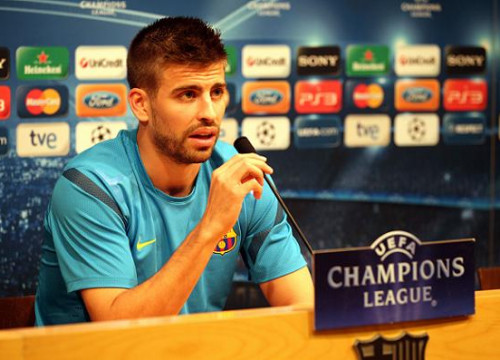 Gerard Piqué in this Monday press conference before the FC Barcelona vs Chelsea UEFA Champions League game (by FC Barcelona)