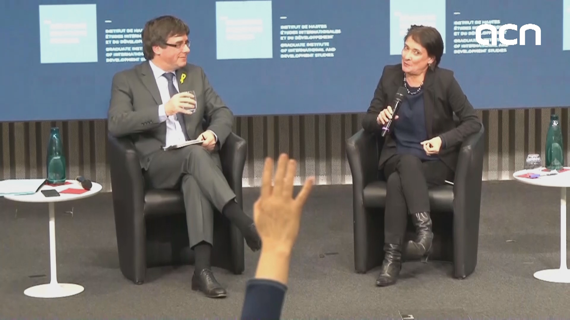 Puigdemont takes part in an event in Geneva