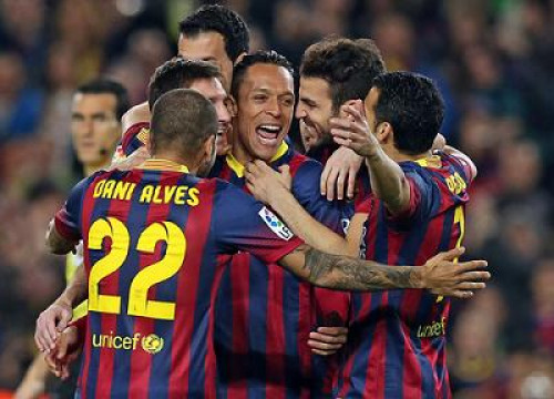 Barça players celebrating one of their goals against Rayo Vallecano (by FC Barcelona)