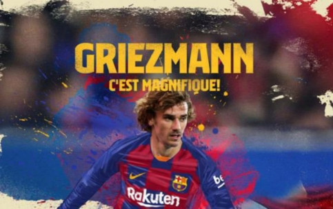 Antoine Griezmann unveiled as a Barcelona player. (Photo: FC Barcelona)