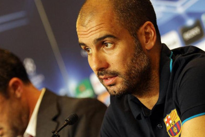 Pep Guardiola during the press conference before the Copenhaguen game (by FC Barcelona)