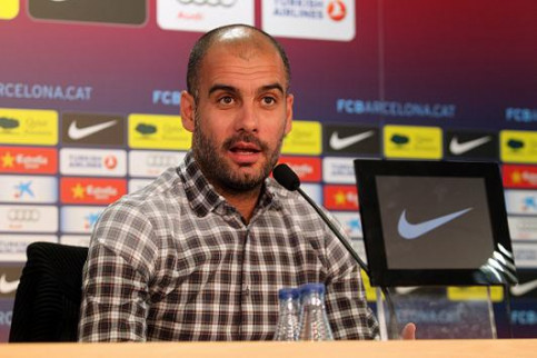 Pep Guardiola, Barça's Manager, at this Friday's press conference (by FC Barcelona)