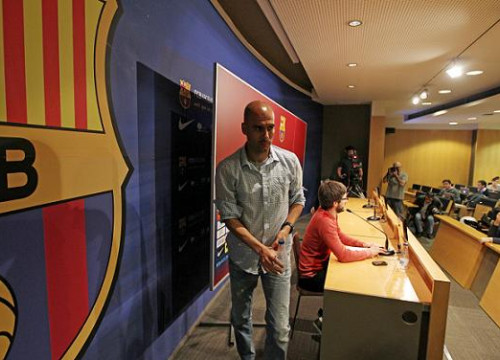 Pep Guardiola attended the press this Friday before the FC Barcelona vs RCD Espanyol (by FC Barcelona)