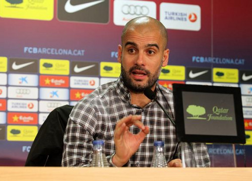 Pep Guardiola at the press conference before the FC Barcelona - Real Madrid Spanish Cup's game (by FC Barcelona)