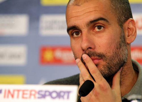 Pep Guardiola at Barça's press room before the SpanishLeague game against Real Sociedad (by FC Barcelona)