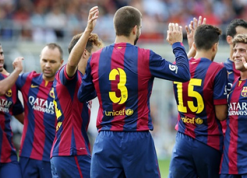 Barça players celebrating one of their 6 goals against HJK Helsinki (by FC Barcelona)