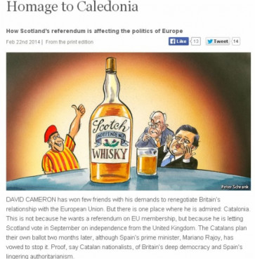 A picture from 'The Economist' website featuring the article 'Homage to Caledonia' (by The Economist)