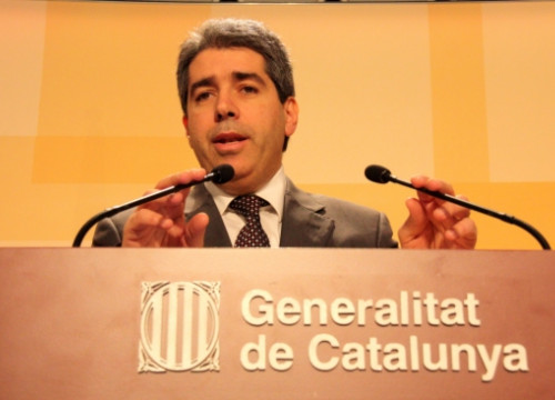 The Catalan Government's spokesperson at today's press conference (by X. Alsinet)