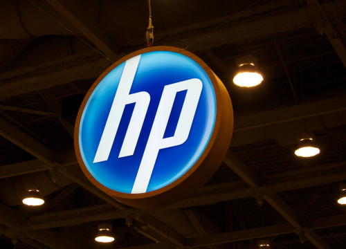 The logo of Hewlett-Packard in a trade fair (by HP)