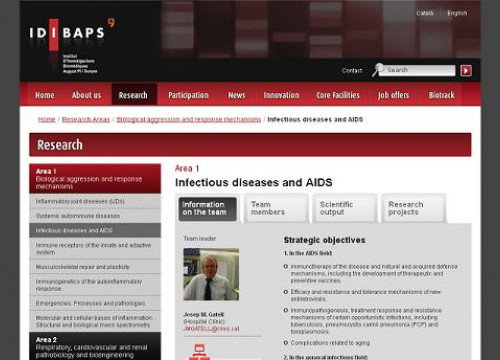 The website of the IDIBAPS' research team on AIDS/HIV and infectious diseases (by IDIBAPS / ACN)
