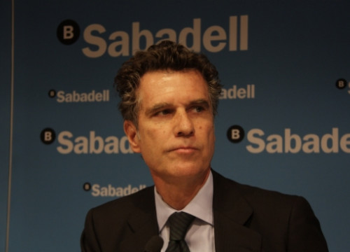 Jaume Guardiola, Banc Sabadell's CEO, in a press conference last week (by A. Recolons)