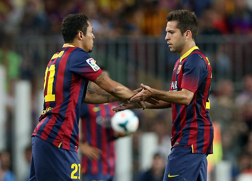 Jordi Alba being replaced by Adriano (by FC Barcelona)