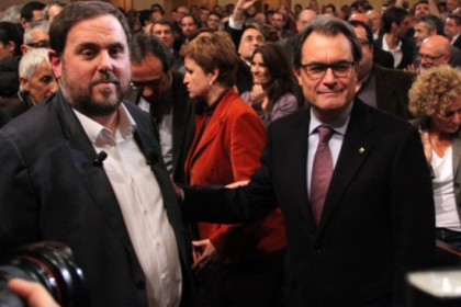 Junqueras (left) and Mas (right) on December 2 (by A. Moldes)
