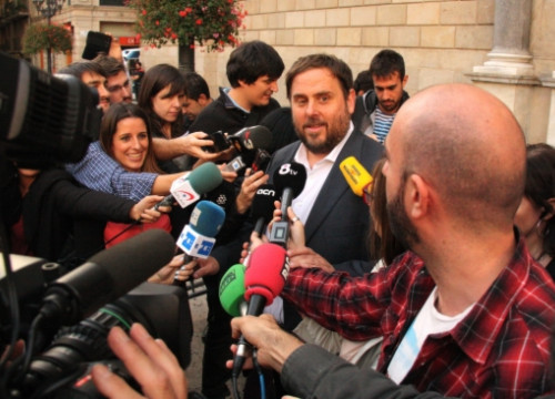 The ERC's leader, Oriol Junqueras, after meeting with the President of the Catalan Government, Artur Mas (by T. Cuartiella)