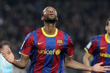 Keita celebrating his goal against Betis (by FC Barcelona)
