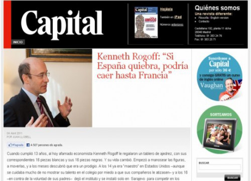 The interview with Kenneth Rogoff at the 'Capital' magazine (by ACN / Capital)