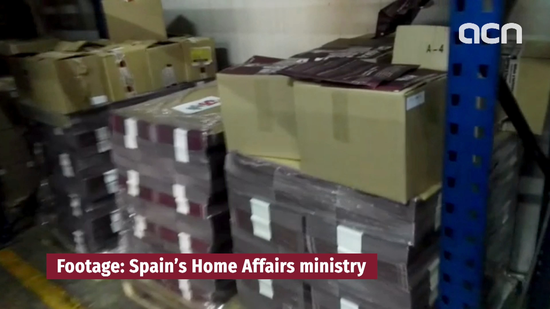 Spain's home affairs ministry shows some of the 1.3 million confiscated posters