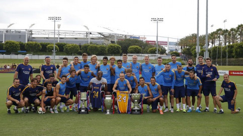 Basketball star Kobe Bryant, who is a FC Barcelona fan, visited the Catalan team's training session in Los Angeles (by FC Barcelona)