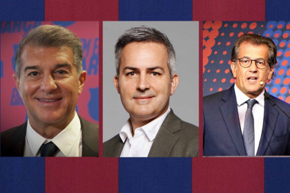 The three candidates bidding for FC Barcelona's presidency, from left to right: Joan Laporta, Víctor Font and Toni Freixa